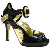 View Item LADIES BLACK GOLD PLATFORM PUNK WOMENS SHOES 